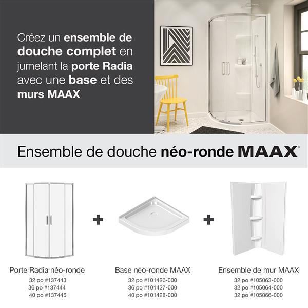 MAAX Radia Round 36-in x 72-in Chrome Clear Shower Door