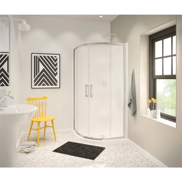 MAAX Radia Neo-Round 40-in x 72-in Chrome Mistelite Shower Door