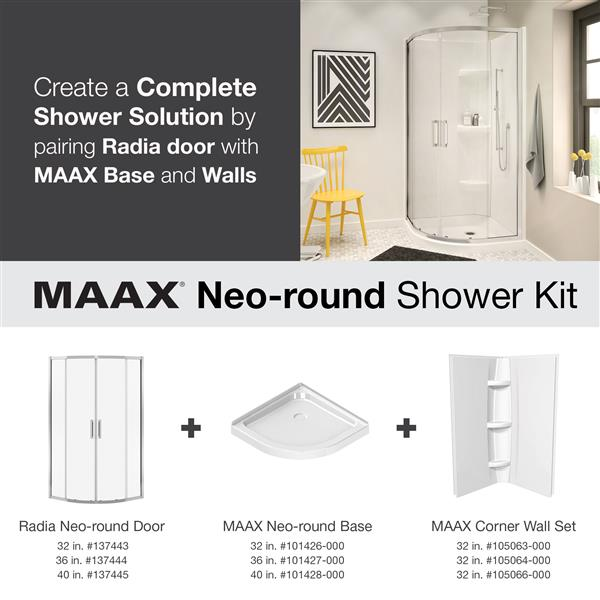 MAAX Radia Neo-Round 36-in x 72-in Chrome Clear Shower Door