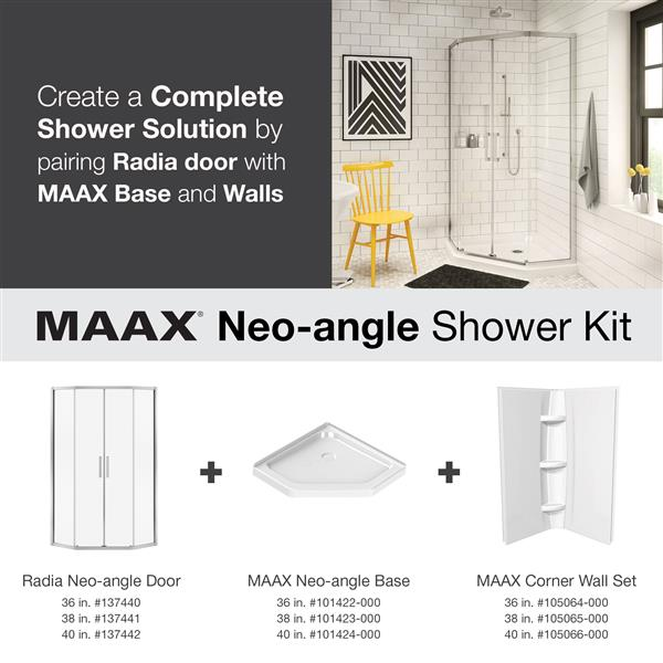 MAAX Radia Neo-Angle 36-in x 72-in Chrome Clear Shower Door