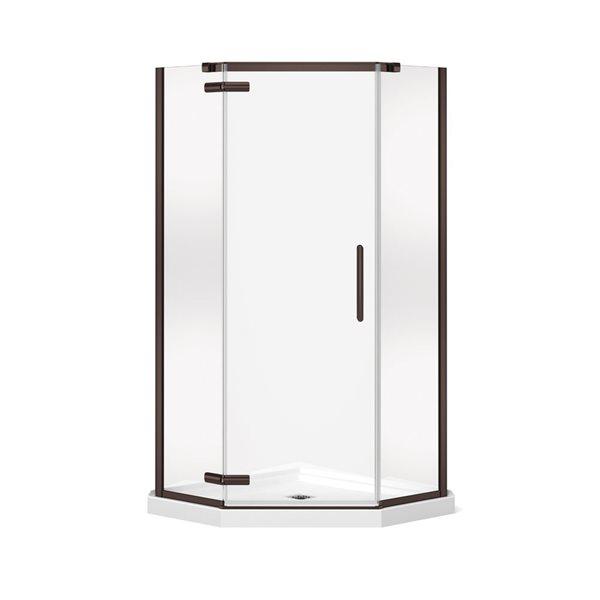 Hana néo-angle 40 po x 75 po porte de douche bronze foncé