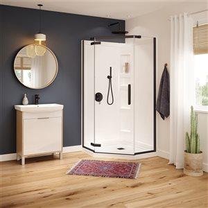 MAAX Hana Neo-Angle 40-in x 75-in Dark Bronze Shower Door
