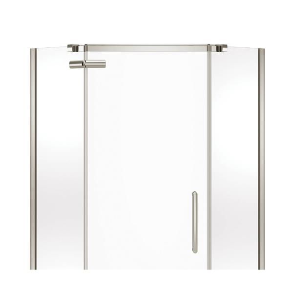 MAAX Hana Neo-Angle 38-in x 75-in Brushed Nickel Shower Door