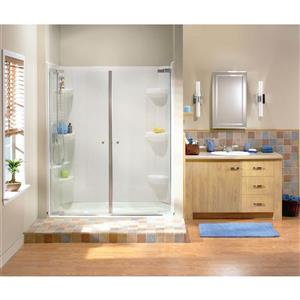 Maax Kleara Clear 58-61-in x 69-in Brushed Nickel 2-Panel Shower Door