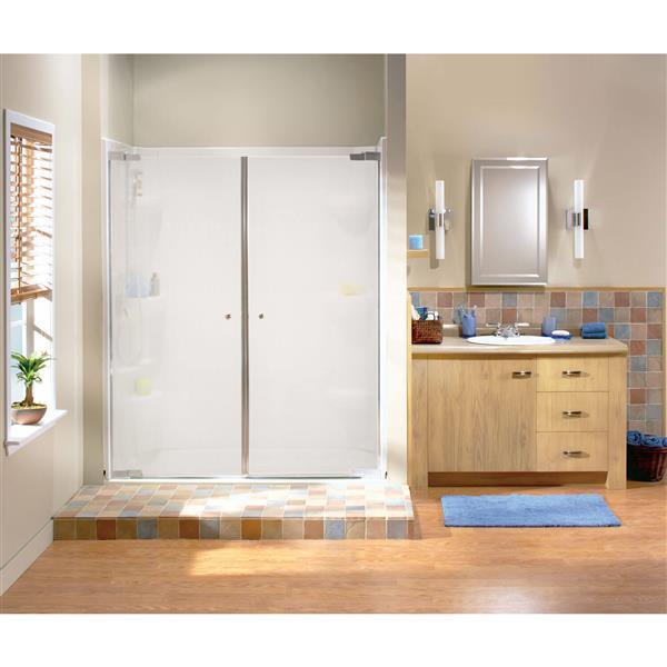 Maax Kleara Mistelite 52-55-in x 69-in Chrome 2-Panel Shower Door