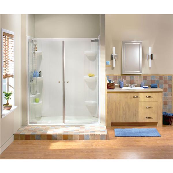 Maax Kleara Clear 52-55-in x 69-in Brushed Nickel 2-Panel Shower Door
