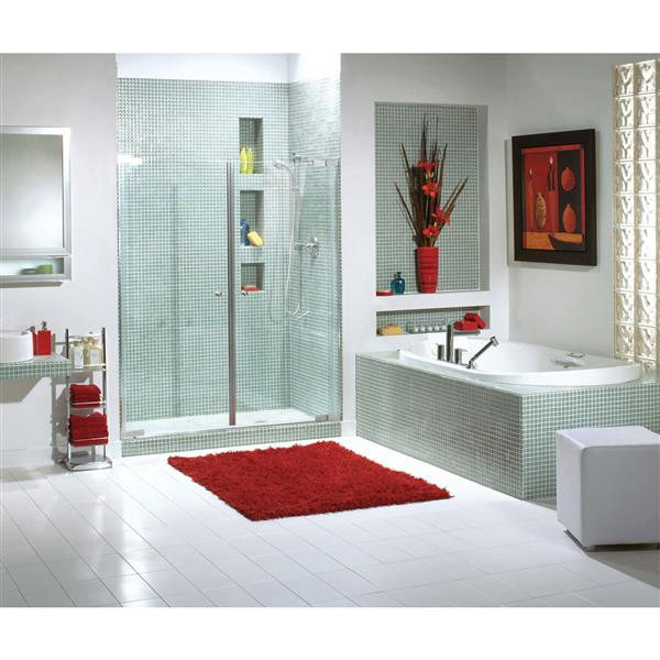 Maax Kleara Clear 52-55-in x 69-in Chrome 2-Panel Shower Door