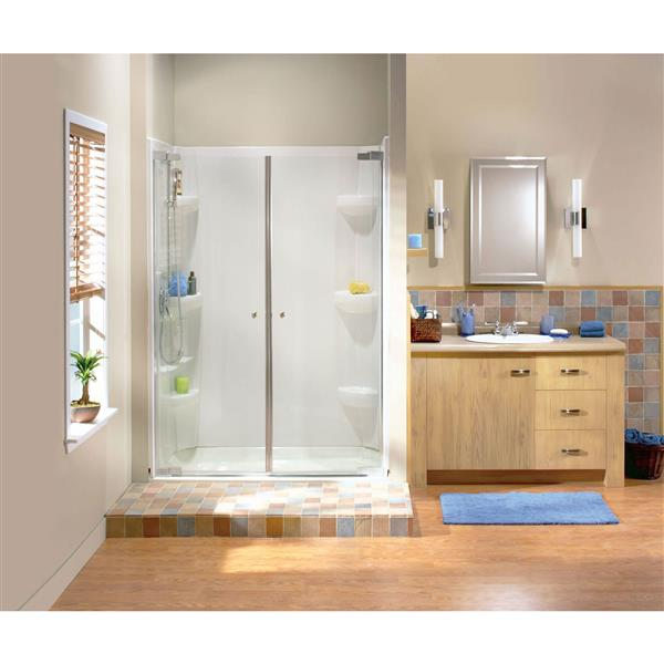 Maax Kleara 2-Panel Clear 40-43-in x 69-in Brushed Nickel Shower Door