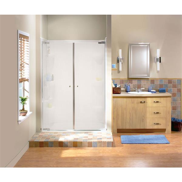 Maax Kleara 2-Panel Mistelite 40-43-in x 69-in Chrome Shower Door
