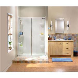 MAAX Kleara 37-40-in x 69-in Nickel Clear 2-Panel Shower Door