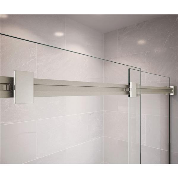 MAAX Dual 56-59-in x 74-in Brushed Nickel Clear Shower Door