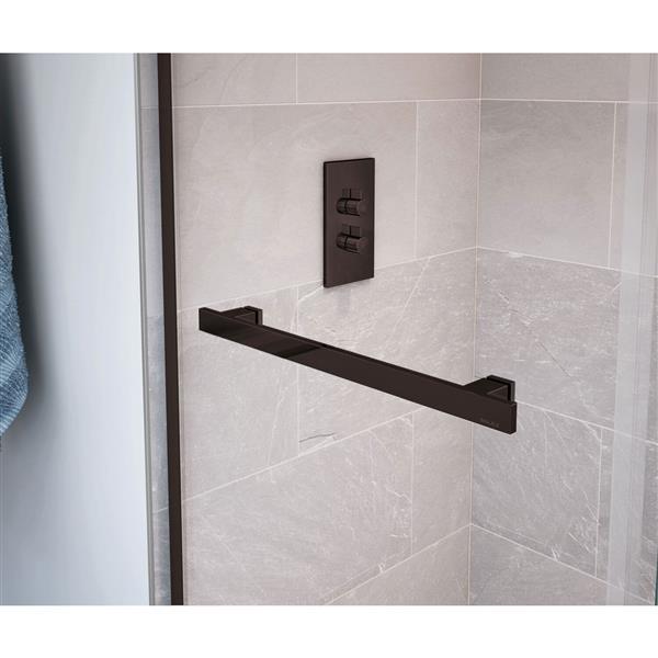 Duel 44-47 po x 74 po porte de douche en bronze foncé clair