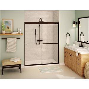 MAAX Aura 55-59-in x 71-in Dark Bronze Clear Soft Close Shower Door