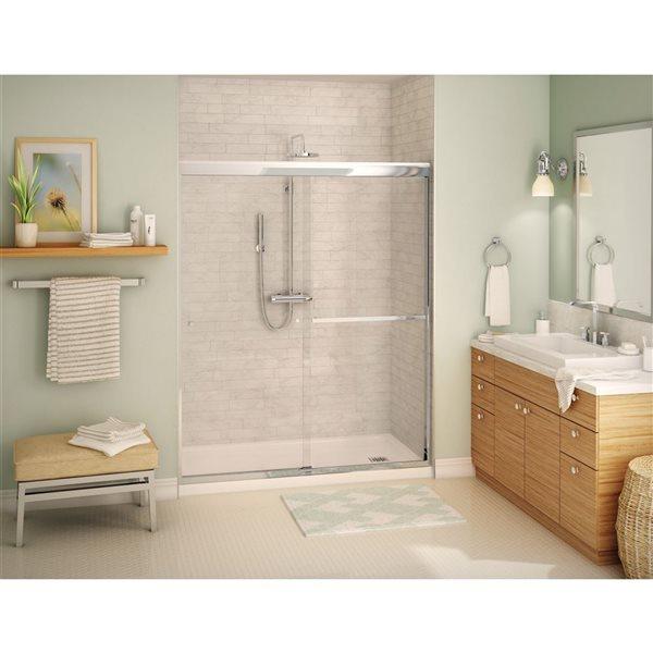 MAAX Aura 55-59-in x 71-in Chrome Clear Soft Close Shower Door