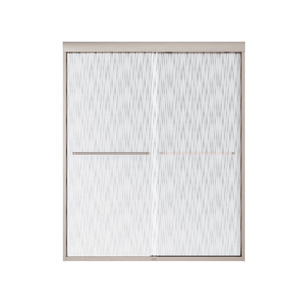 MAAX Aura 55-59-in x 71-in Brushed Nickel Efferv Shower Door