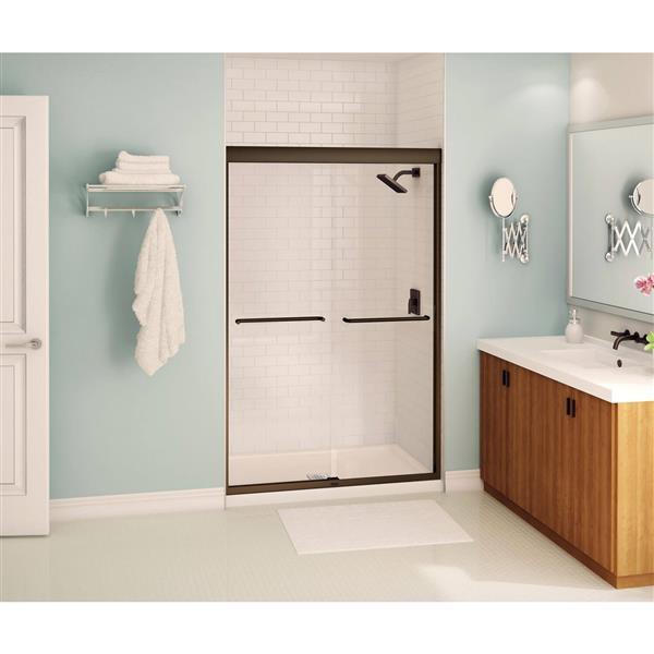 Aura 40-44 po x 71 po porte de douche en bronze foncé clair