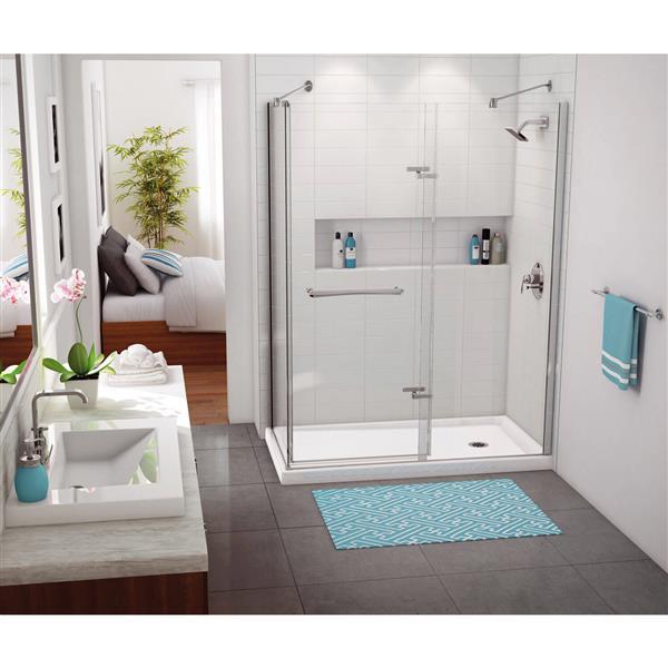 """Base de douche en coin rectangulaire, 36,25"""", drain à droite"""