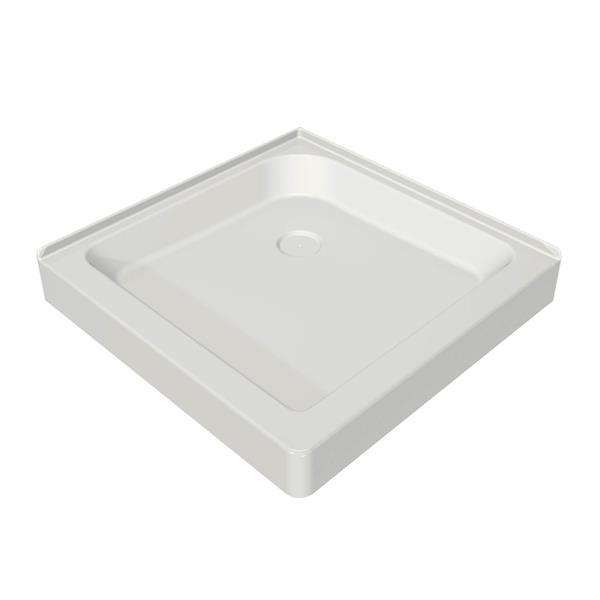 "Base de douche en coin carré, 36,13"", drain centré, blanc"