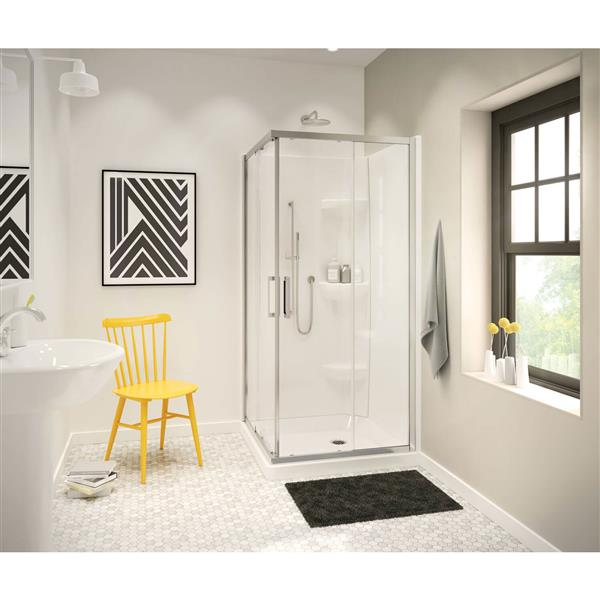 Corner Shower.Maax 32 13 In Square Corner Shower Base With Center Drain Rona