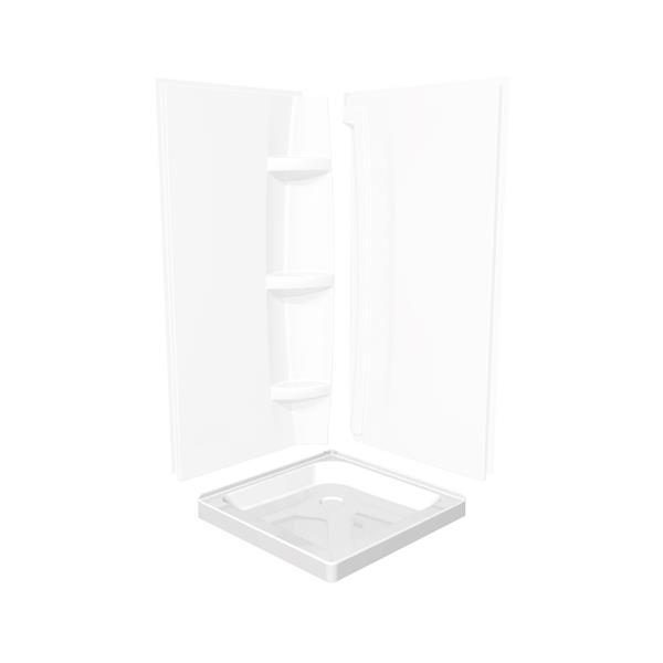 Base de douche en coin carré de MAAX, 32,13 po, drain au centré au fond