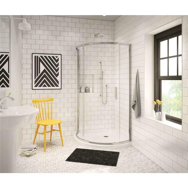 MAAX 36.13-in Round Corner Shower Base with Center Drain