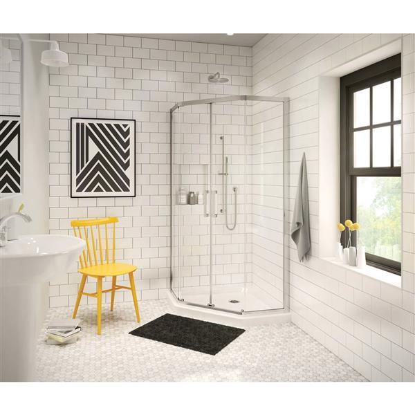 """Base de douche en coin en angle, 40,13"""", blanc"""