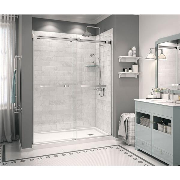 MAAX Zone 60-In x 32-In White Configurable Shower Base Center Drain
