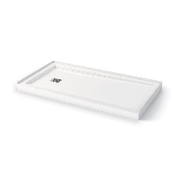 Zone 60 po x 32 po base de douche configurable drain gauche