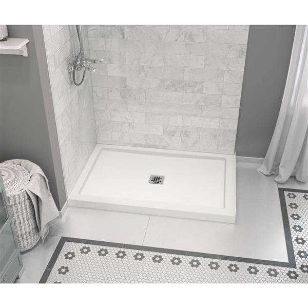 MAAX Zone 48-In x 32-In White Configurable Shower Base Center Drain