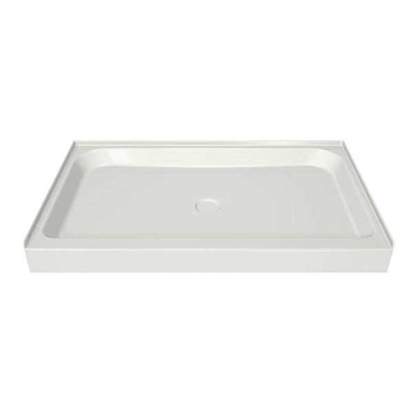 MAAX Alcove 60-In x 34-In x 5-In White Shower Base Centre Drain