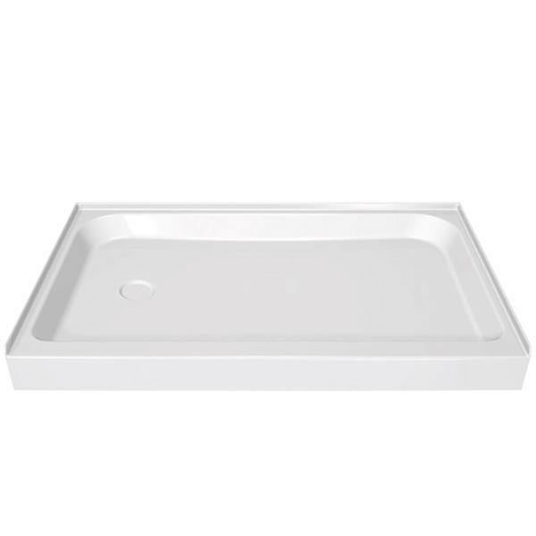 MAAX Alcove 60-In x 32-In x 5-In White Shower Base Centre Drain