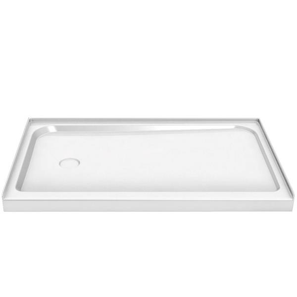 MAAX Alcove 60-In x 30-In x 3-In White Shower Base Centre Drain