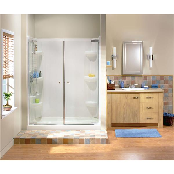MAAX Alcove 48-In x 34-In x 5-In White Shower Base Centre Drain