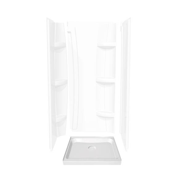 MAAX Alcove 36-In x 36-In x 5-In White Shower Base Centre Drain