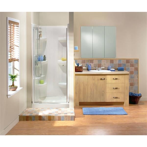 MAAX Alcove 32-In x 32-In x 5-In White Shower Base Centre Drain