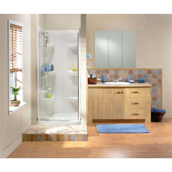 MAAX Alcove 36-In x 36-In x 3-In White Shower Base Centre Drain