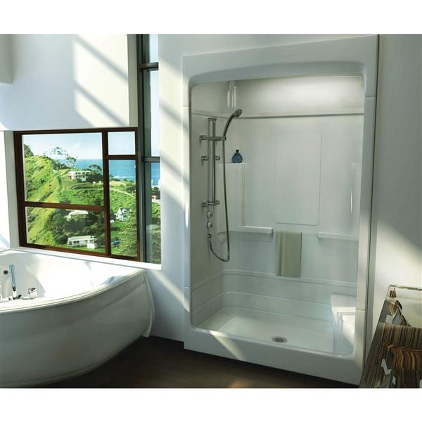 MAAX Tempo Shower - 34-in x 51-in - Centre Drain - Left Seat - 1 PC