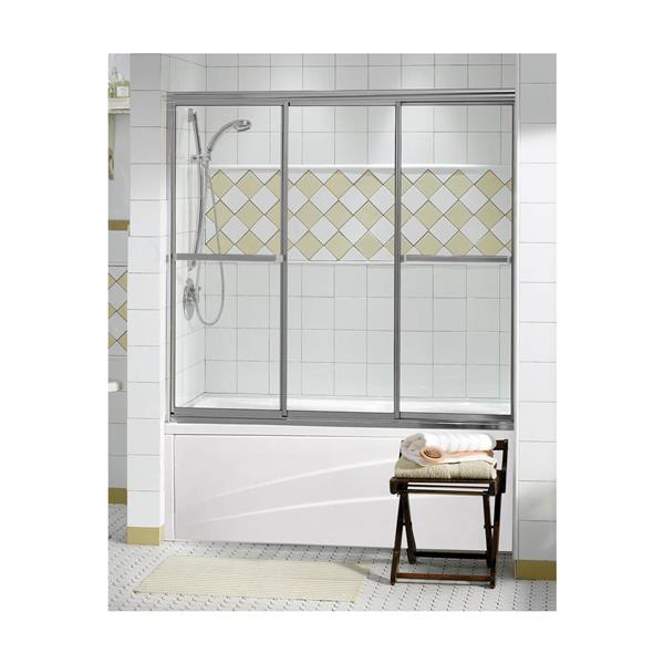 """Porte de baignoire Triple Plus, 59,5"""" x 56"""", chrome"""