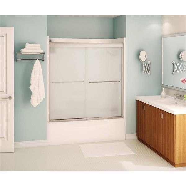 MAAX Aura Tub Door - 59-in x 57-in - Tempered Glass - Nickel