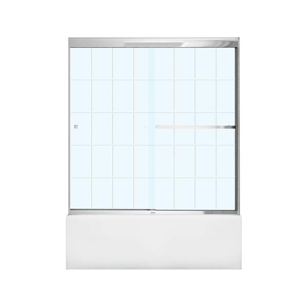 """Porte de baignoire Aura, 59"""" x 57"""", verre trempé, chrome"""