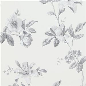 Papier peint florale de Luxe, blanc/gris