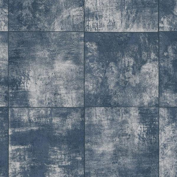 Walls Republic Weatherd Tile Grind 56 sq ft Light Blue/Navy Unpasted Wallpaper