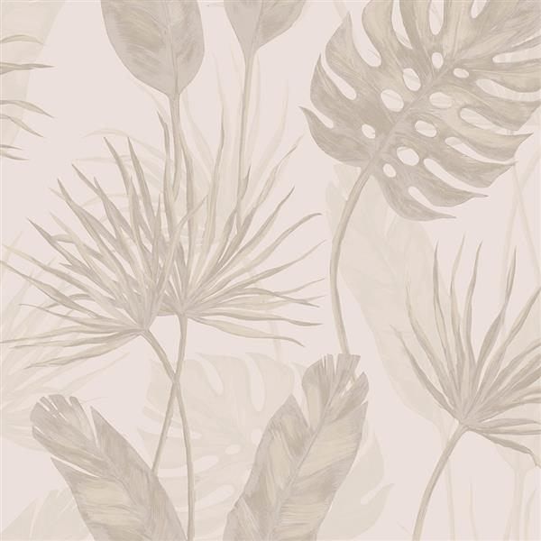 Walls Republic Taupe Jungle Leaf Floral Unpasted Wallpaper