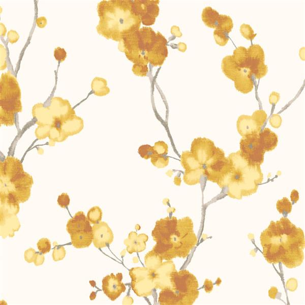 Walls Republic Watercolor Blossoms Floral 57 sq ft Light White/Yellow Unpasted Wallpaper