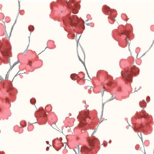 Walls Republic Watercolor Blossoms Floral 57 sq ft Light White/Red Unpasted Wallpaper