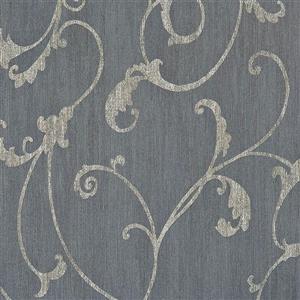 Walls Republic Blue Damask Non-Woven Ornamental Floral Thistles Unpasted Wallpaper