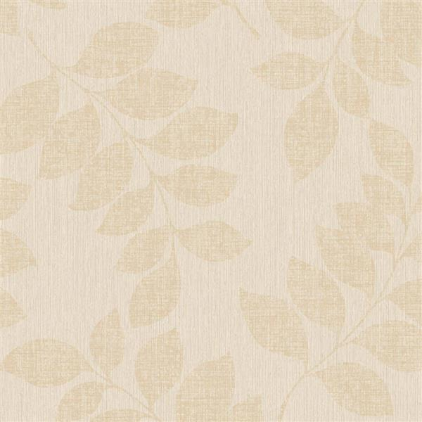 Walls Republic Beige Modern Leaf Branches Non-Woven Unpasted Wallpaper