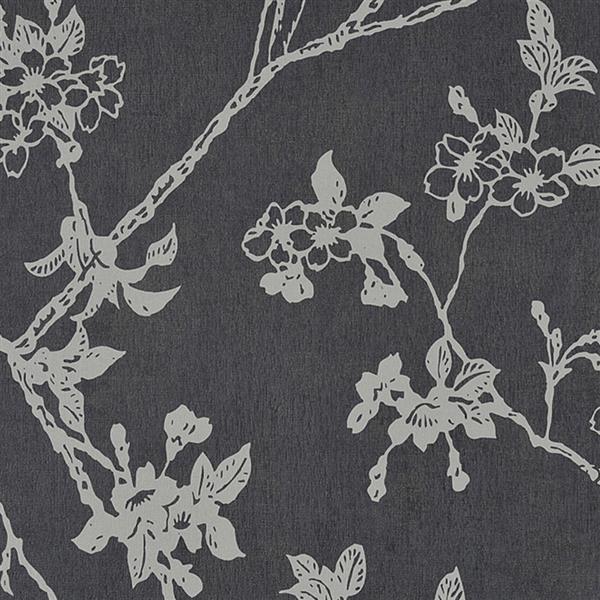 Walls Republic Black Floral Non-Woven Paste The Wall Flora Floral Blossom Wallpaper