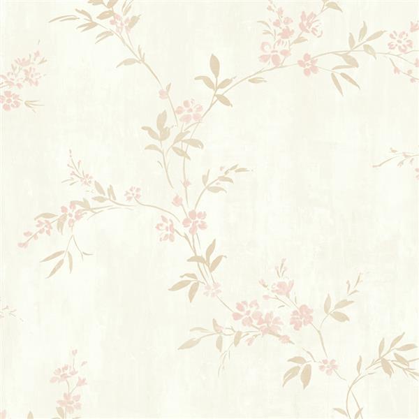 Walls Republic Rose Pink Classic Floral Metallic Wallpaper