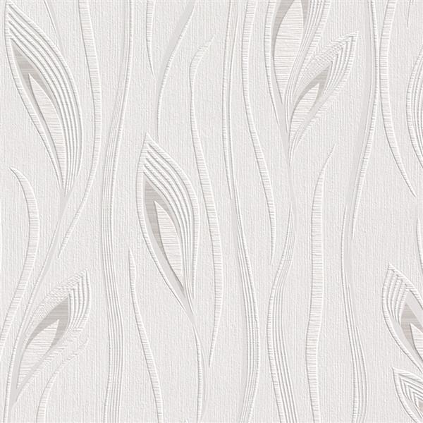 Walls Republic White/White Leaf Wallpaper